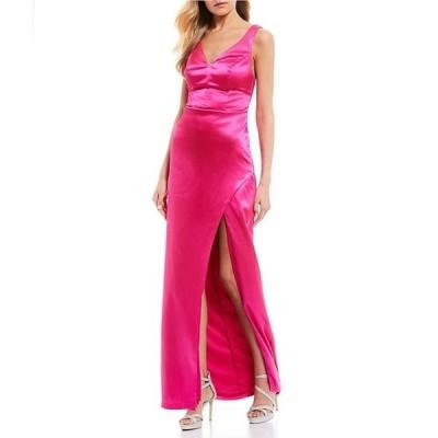 シティヴァイブ レディース ワンピース トップス Sleeveless Rhinestone Back Straps High Side-Slit Long Dress