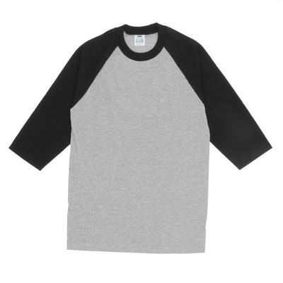 バックヤードファミリー BACKYARD FAMILY PRO CLUB プロクラブ 135 クルーネック ベースボール Tシャツ (Hグレーxブラック(袖))