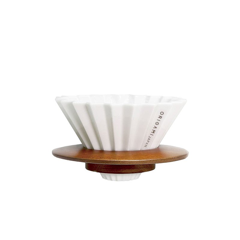 日本ORIGAMI摺紙咖啡陶瓷濾杯組S含杯座 木質樹脂兩款可選