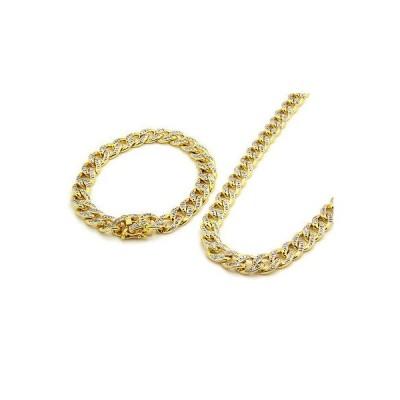 """ブレスレット アメリカン ジュエリー ヒップホップ 14k Gold Finish Iced Out Simulated Cz Mens Miami Cuban Chain & Bracelet 30"""""""