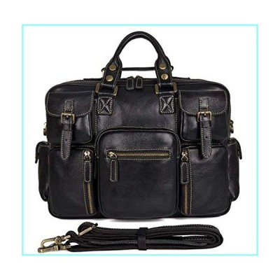 Full Grain Leather Briefcases Men Classic Messenger Bags 16 Inch Laptop Briefcase Business Travel Bag Black Black