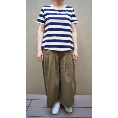 SALE Tシャツ OPTIM ベア天ポケット付裾ラウンドTシャツ  (ホワイト×ネイビー)