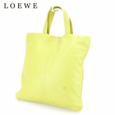 【ラスト1点】 ロエベ トートバッグ トート ハンドバッグ ロゴ グリーン イエロー シープスキン LOEWE バック 収納 ファッション バッグ