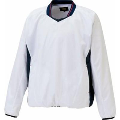 ゼット 野球 ソフトボール ZETT アウターウェア 長袖Vネックジャンパー 20FW ホワイト/ネイビー ウインドブレーカー(bov331-1129)