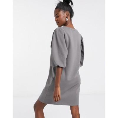 オンリー レディース ワンピース トップス Only sweat dress with balloon sleeve detail in gray Dark gray