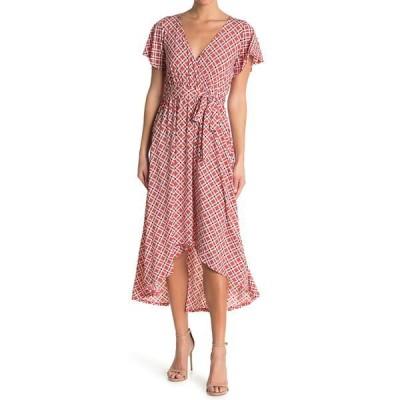 ウエスト ケイ レディース ワンピース トップス Knit Geometric Print Wrap High/Low Midi Dress PINK GEO