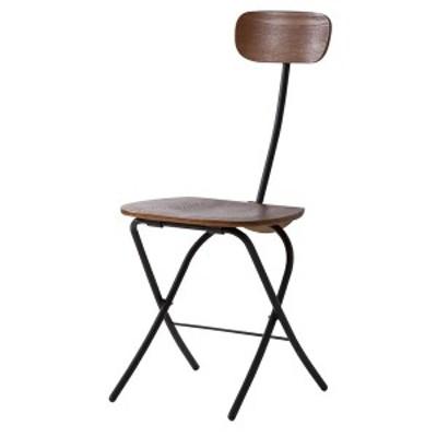 フォールディングチェア/折りたたみ椅子 〔ブラック〕 高さ85cm スチールフレーム 木目調 PC-21BK 〔送料無料〕