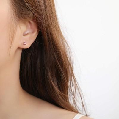 SXT.YUME ピアス 金属アレルギー対応 シルバー925 スワロフスキージルコニア ピアス レディース 両耳 6mm(1.0ct) ピン