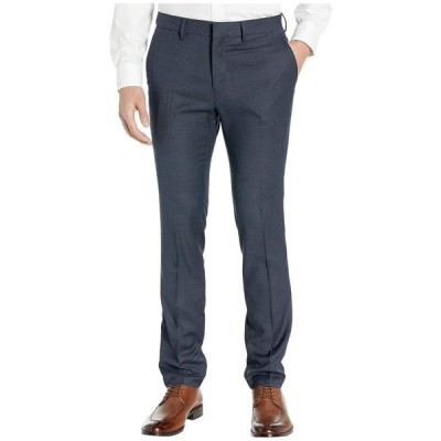 ケネス コール Kenneth Cole Reaction メンズ スラックス スキニー Stretch Micro Check Houndstooth Skinny Fit Flat Front Dress Pants Indigo