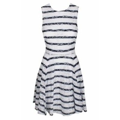 Maison  ファッション ドレス Maison Jules Navy And White Combination Striped Lace Flare Dress