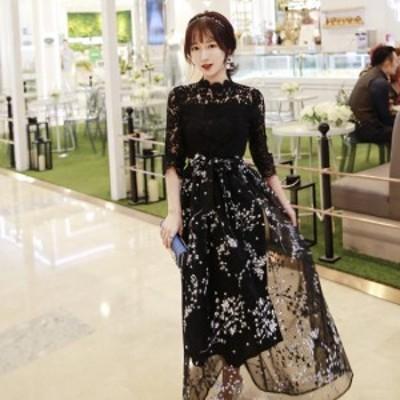 ワンピース ロング シースルー 花柄 刺繍 ハイネック ドレス ブラック ハイウエスト 可愛い 上品 エレガント お呼ばれ drgz0588