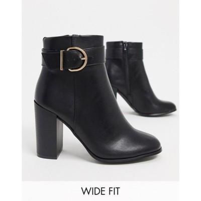 エイソス レディース ブーツ・レインブーツ シューズ ASOS DESIGN Wide Fit Retreat heeled ankle boots in black