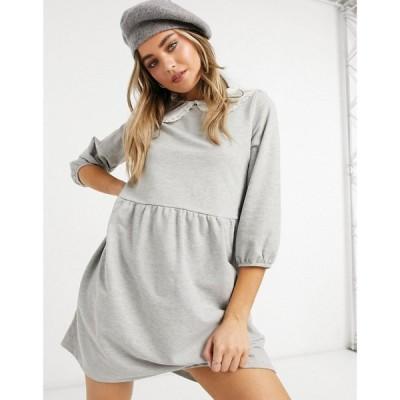 ニュールック New Look レディース ワンピース スウェットワンピ ワンピース・ドレス Ruffle Collar Sweatshirt Dress In Grey