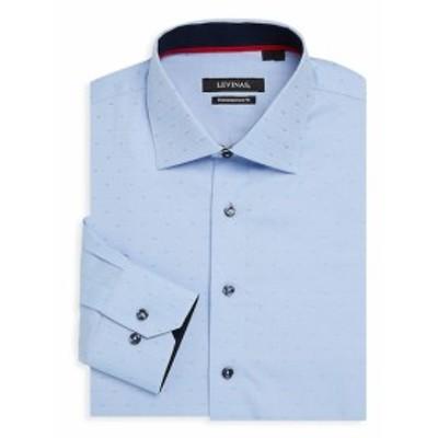 レビナス Men Clothing Contemporary-Fit Micro Dot Cotton Dress Shirt