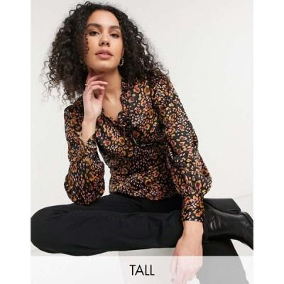 ヴェロモーダ Vero Moda Tall レディース ブラウス・シャツ トップス wrap blouse in animal print アニマルプリント