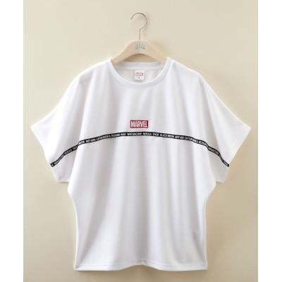 【大きいサイズ】 マーベル テープ使いゆるシルエットTシャツ plus size T-shirts, テレワーク, 在宅, リモート