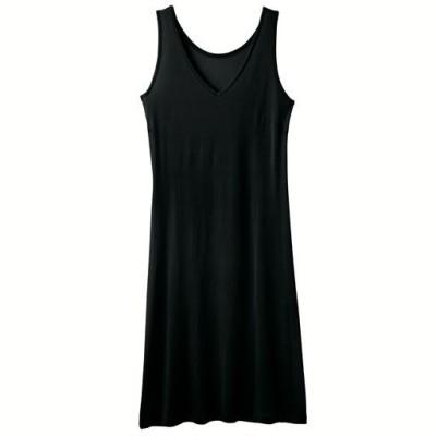 シルク100% Vネックスリップ/ブラック/L-90(サイズ-身丈)