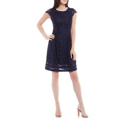 ジェシカハワード レディース ワンピース トップス Petite Size Cap Sleeve Lace Fit & Flare Dress