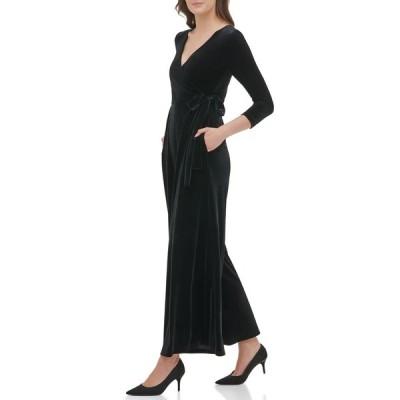 トミー ヒルフィガー レディース ワンピース トップス Velvet Wiide Leg Jumpsuit BLACK