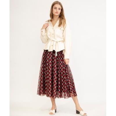 【アンドクチュール/And Couture】 チェックジャガードレースロングスカート