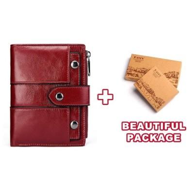 KAVIS 本革女性財布女性赤色コイン財布小さな Walet Portomonee ジッパーとマネーバッグ女性ミニカードホルダー Red M box