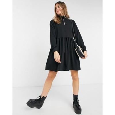 ニュールック ミディドレス レディース New Look zip high neck sweatshirt dress in black エイソス ASOS ブラック 黒