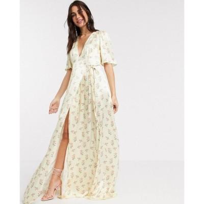 ゴースト Ghost レディース パーティードレス ラップドレス ワンピース・ドレス Bridesmaid perla floral printed satin wrap maxi dress in floral print