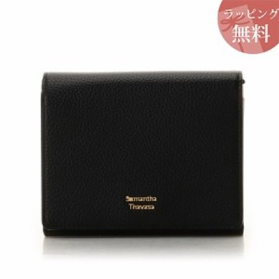 サマンサタバサ 財布 折財布 二つ折り ショルダー付き スプリングカラー ブラック Samantha Thavasa