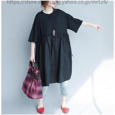 ワンピースレディースきれいめゆったり半袖夏大きいサイズ体型カバー着やせひざ丈