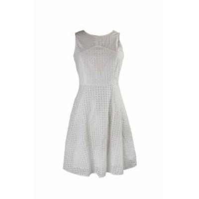 Vince ヴィンス ファッション ドレス Vince Camuto White Sleeveless Square Eyelet A-Line Dress 4
