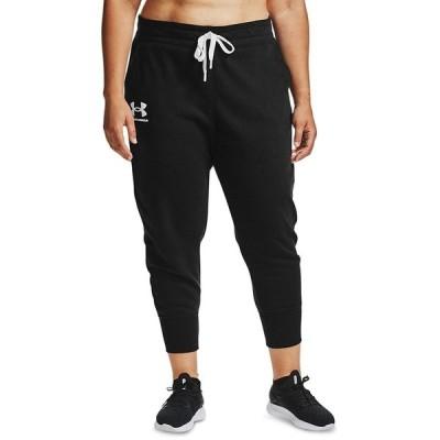 アンダーアーマー カジュアルパンツ ボトムス レディース Plus Size Rival Fleece Jogger Pants Black / White / White