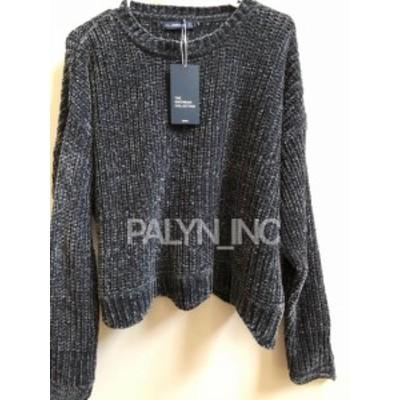 ファッション トップス RARE_NWT ZARA GREY CROPPED ROUND NECK SWEATER CHENILLE 3519/108 _L