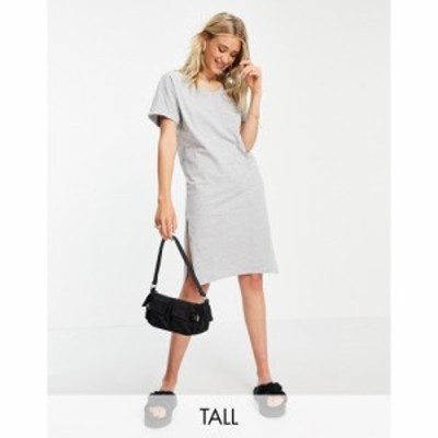 ピーシーズ Pieces Tall レディース ワンピース Vネック Tシャツワンピース midi t-shirt dress with v neck in grey marl ライトグレー