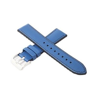 イギリス コンドル社製 20mm 牛革×シリコンラバー素材 プレーンタイプ 時計ベルト ブルー×ブラック 尾錠色シルバー 時計バンド 345