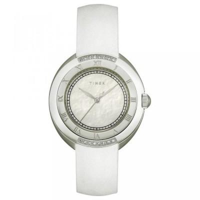 タイメックス 腕時計 レディースウォッチ Timex Women's T2M593 Diamond Accented White Strap Stainless Steel Bracelet Watch