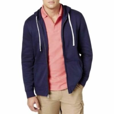 ファッション トップス Club Room NEW Blue Navy Mens Size 2XL Hooded Fleece Zip-Front Sweater