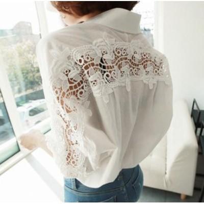 シャツ ブラウス レディース 長袖 白 レース 透かし 大きいサイズ 韓国 ファッション 肌見せ セクシー バックシャン 大人可愛い カジュア