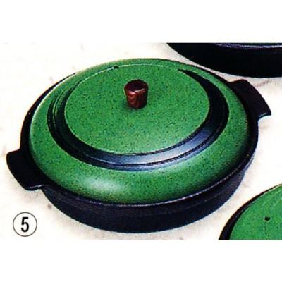 アルミ 丸陶板(ありそ)木製ツマミ ミニ深型 品番:20224 陶板焼き皿に 代引不可商品です。