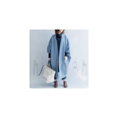 リバーコート ロングニットコート フリーサイズ ウールニット ゆったり ブルー モモンガスタイル マント ポンチョ