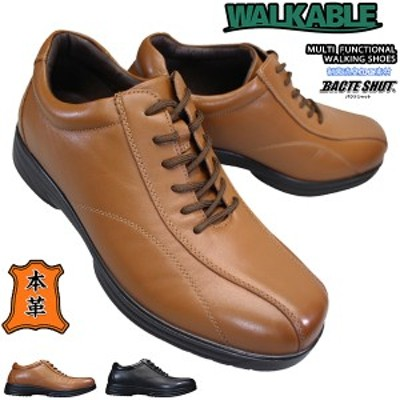 WALKABLE WK-6032 メンズ ウォーキングシューズ カジュアルシューズ 紳士靴 幅広 ゆったり 本革 天然皮革 レザー