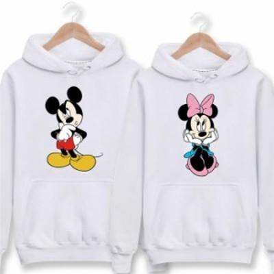 ミッキー パーカー Disney ペアルック カップル トレーナー スウェット ディズニー パーカー フード付き 厚手 薄手 男女兼用 お揃い トッ