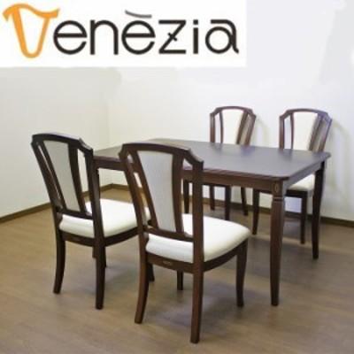 ベネチア調象嵌細工シリーズ Venezia ベネチア DT135 チェアK ダイニング5点セット 135cm