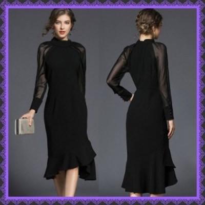 即納 パーティードレス ワンピース お呼ばれ 袖付き 結婚式 二次会 透け感 お呼ばれドレス ドレス 20代 30代 40代 黒