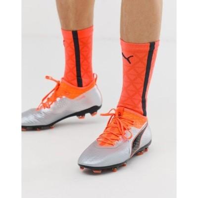 プーマ メンズ スニーカー シューズ Puma One 18.2 Firm Ground Leather Soccer Boots Orange