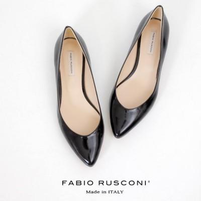 ファビオルスコーニ  FABIO RUSCONI パンプス 靴 81508 黒 ブラック エナメル フラット 本革 ローヒール イタリア セール