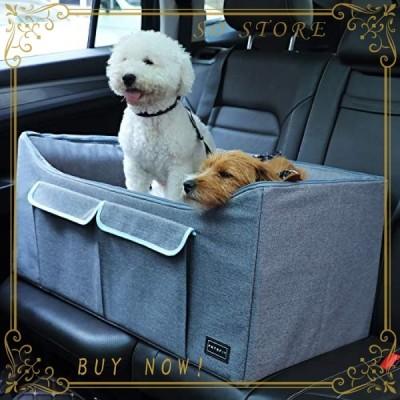 Petsfit ペットドライブボックス 車用ペットシート 犬/猫用 車載用ソファー 折り畳み式 収納袋付き 飛び出し防止