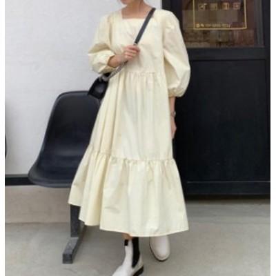 韓国 ファッション レディース ワンピース ロング ミモレ丈 ティアード スクエアネック 七分袖 ゆったり 無地 大人可愛い カジュアル レ