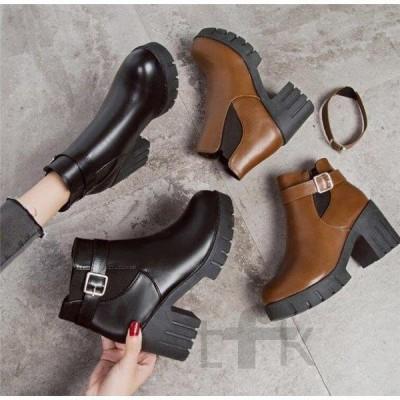 ブーツ レディース マーティンブーツ ハイヒール ショートブーツ 秋 アンクルブーツ 冬 シューズ 靴