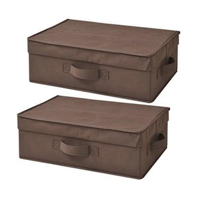山善 どこでも収納ボックス 浅型 ふた付 2個セット ブラウン YTCF-2PAF(BR)