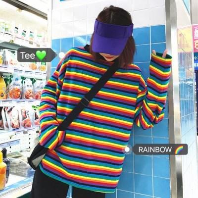 カットソー 長袖 マルチボーダー柄 カラフル トップス ダンス 衣装 韓国 ヒップホップ レディース
